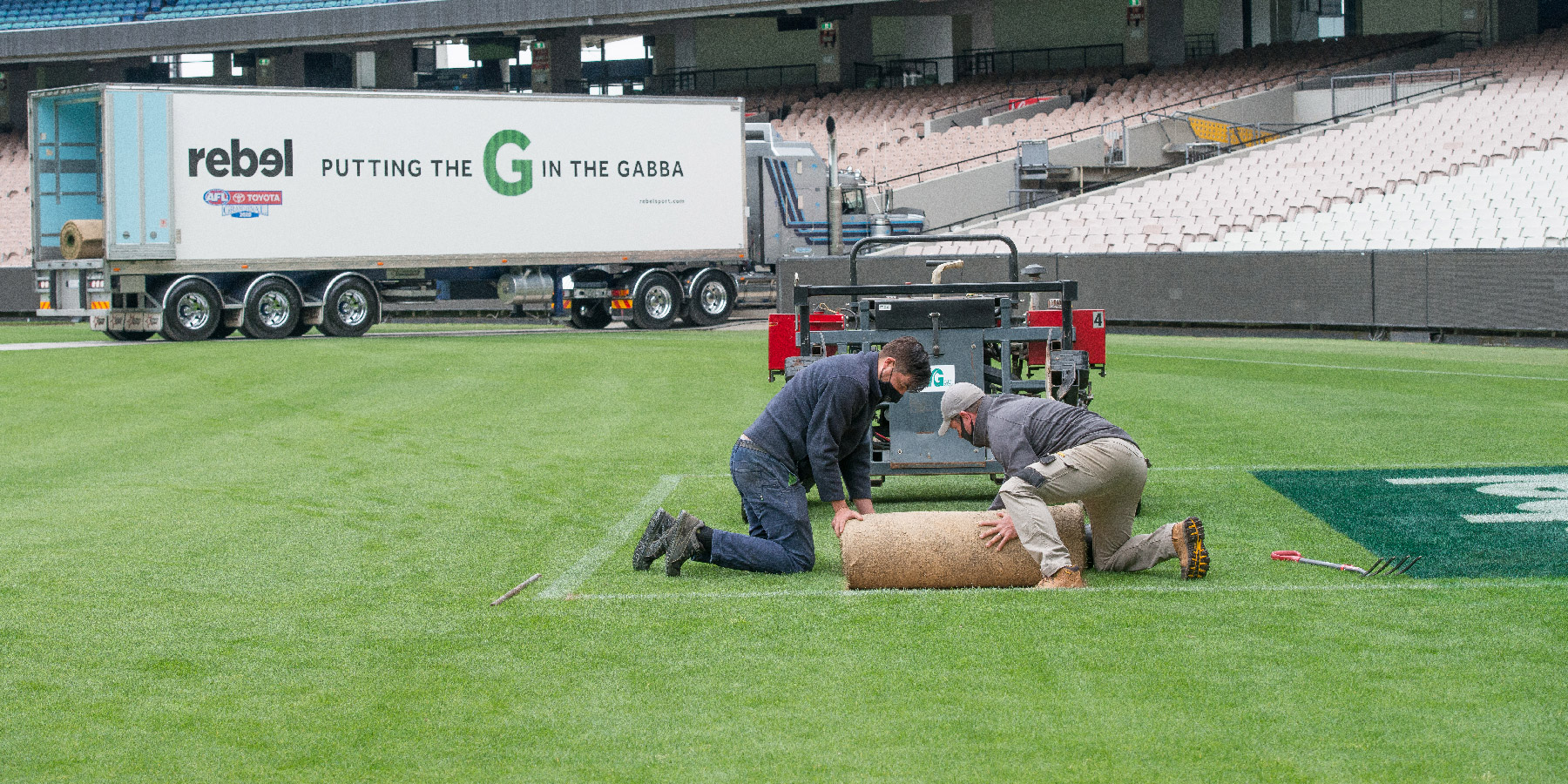 Turf being lifted from the MCG