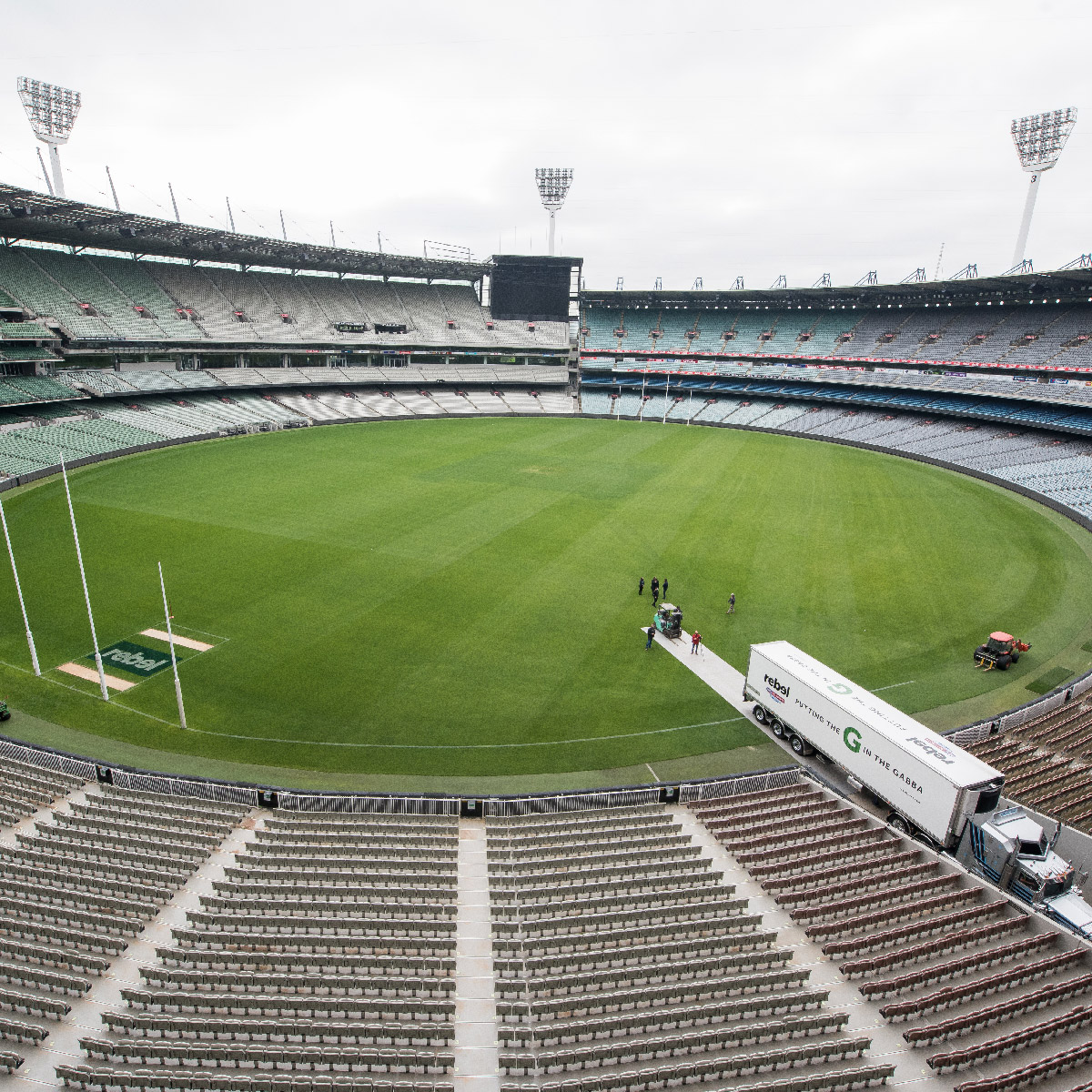 The turf being transported from the MCG
