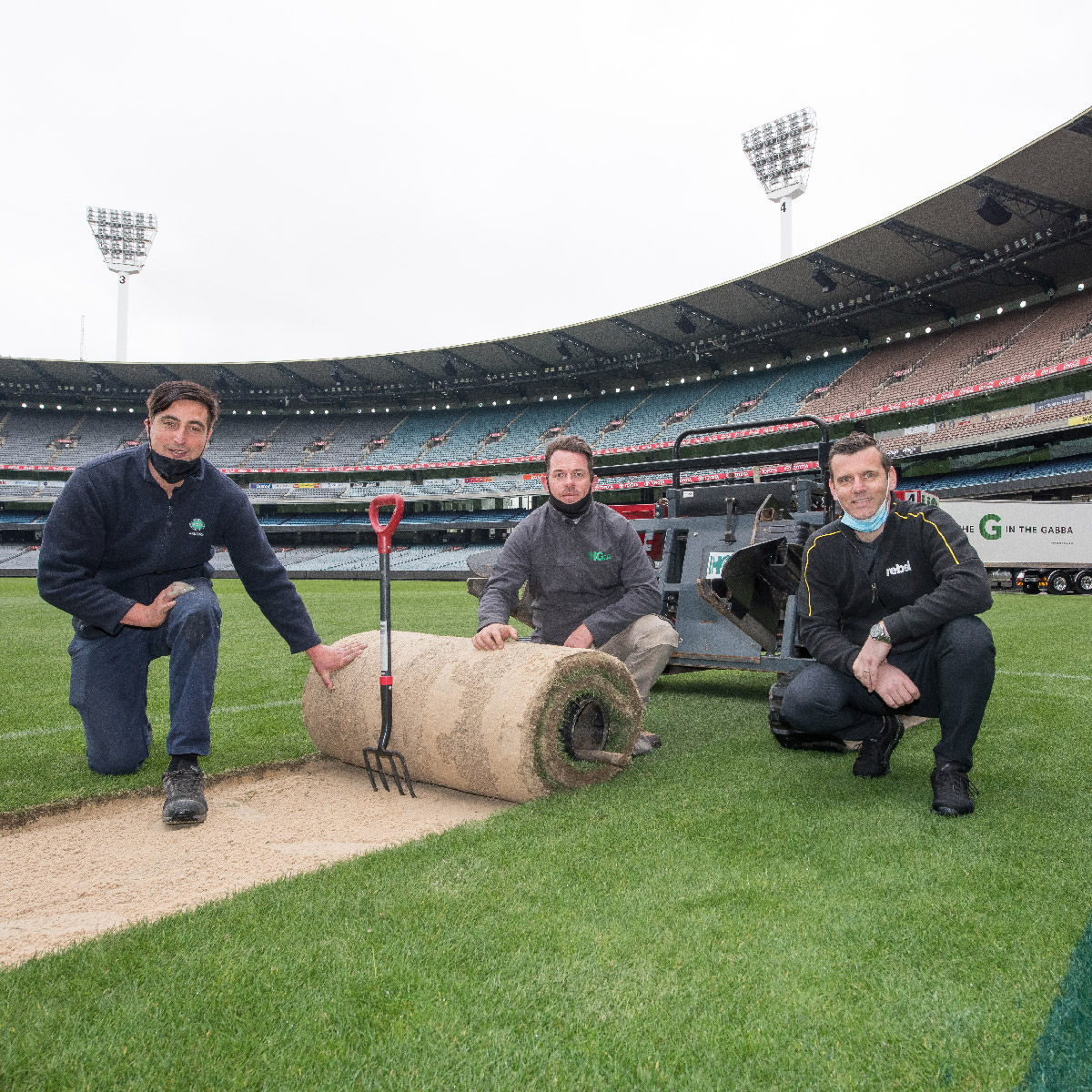 Turf being transported from the MCG